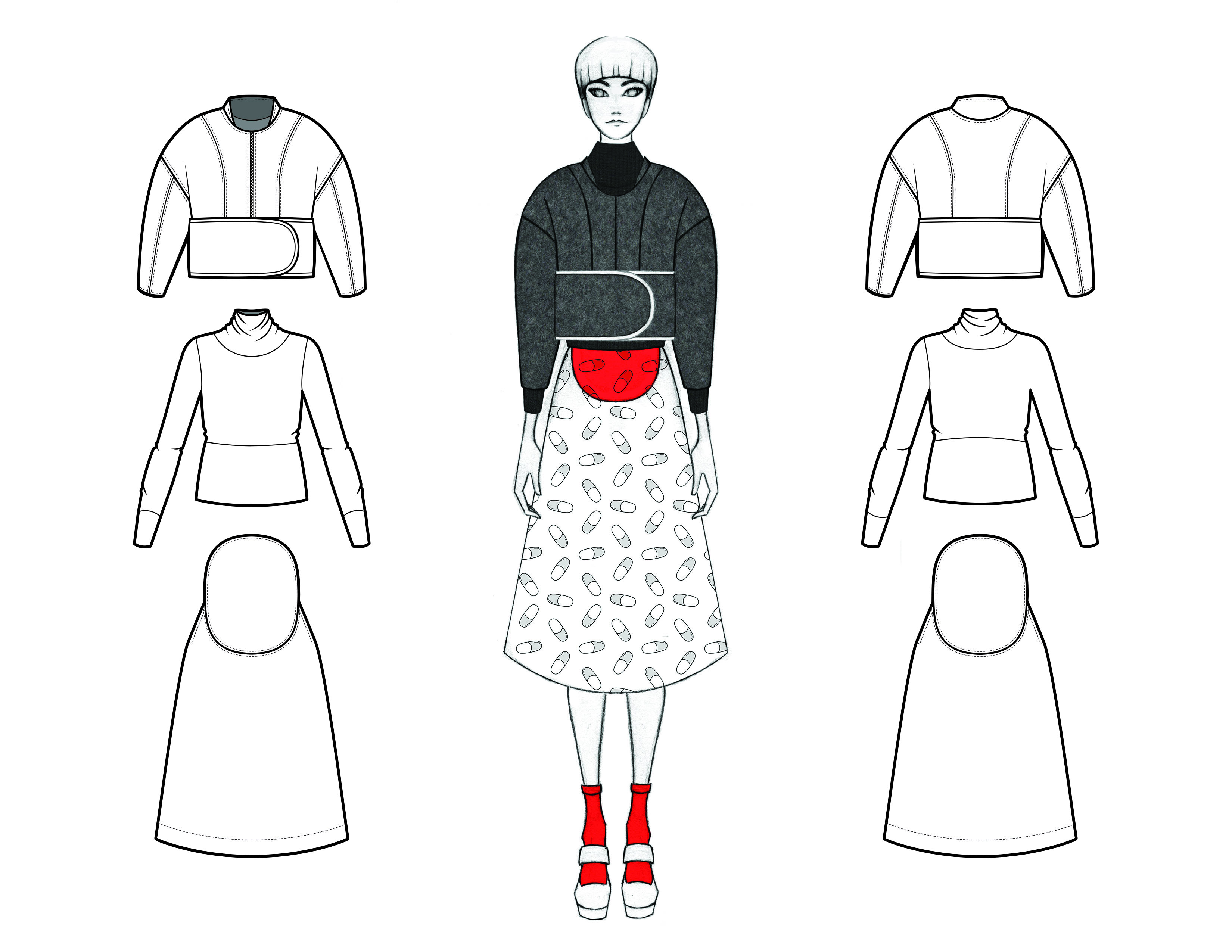 MGHN Capsule Look 5 Illustration and Flats
